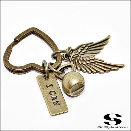 Ключодържател с форма на сърце Пудовка, Крила, Плочка 'I Can'