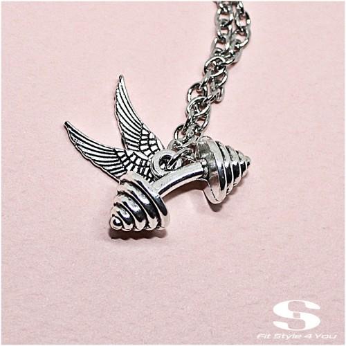 Колие Дъмбел, Крила, цвят Сребро